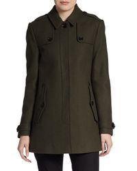 Burberry Brit - Green Woolcashmere Coat - Lyst