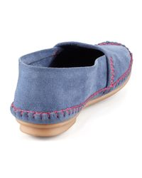 Jacques Levine - Blue Davies Topstitched Moccasin - Lyst