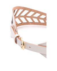 Linea Pelle Chevron Lattice Waist Belt White