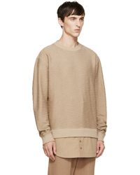D by D Natural Camel Layered Sweater for men