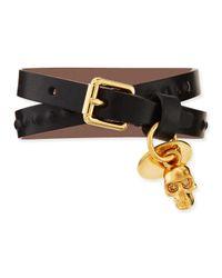 Alexander McQueen | Black Mens Doublewrap Leather Skull Bracelet | Lyst