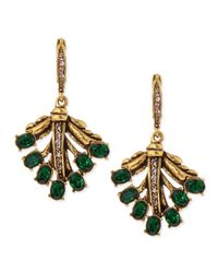 Oscar de la Renta Green Cutout Jeweled Leaf Earrings