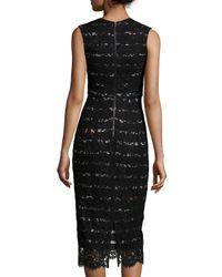 Preen By Thornton Bregazzi - Black Sleeveless V-neck Striped Lace Dress - Lyst