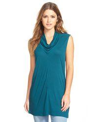 Halogen | Blue Sleeveless Drape Neck Tunic | Lyst
