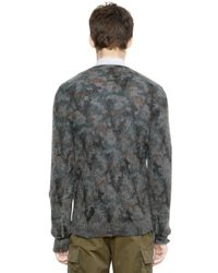 Miharayasuhiro Gray Camouflage Wool Mohair Sweater for men