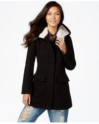 Madden Girl Black Faux-fur-trim Plaid Walker Coat
