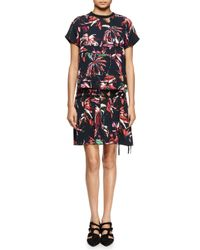Proenza Schouler - Red Tropical-print Short-sleeve Shirtdress - Lyst