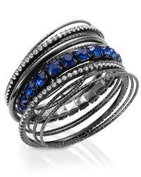 INC International Concepts - Metallic Hematite-tone Blue Stone Bangle Bracelet Set - Lyst
