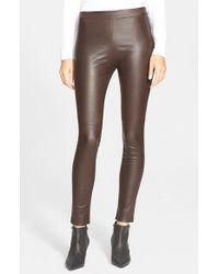 Theory - Brown 'abdelle' Leather Leggings - Lyst