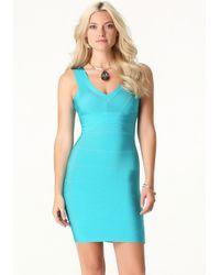 Bebe Blue V-neck Bandage Dress