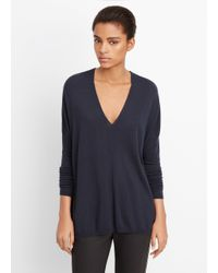 Vince | Blue Superfine Merino Blend Double V-neck Sweater | Lyst