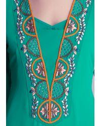 Bebe Green Beaded Kaftan Dress
