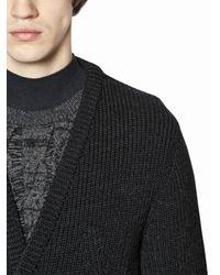 Lanvin - Blue Zip-up Mouline Wool Cardigan - Lyst