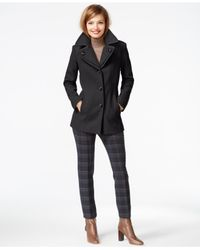 London Fog | Gray Plus Size Layered-collar Peacoat | Lyst