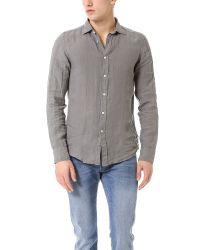 Hartford Gray Slim Fit Linen Shirt for men