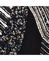 River Island - Black Embellished Sheer Sleeve Bodycon Dress - Lyst