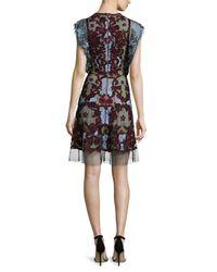 Naeem Khan - Multicolor Flutter-sleeve Embroidered Silk Cocktail Dress - Lyst