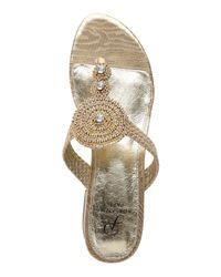 Adrianna Papell - Metallic Platino Dashing Thong Sandals - Lyst