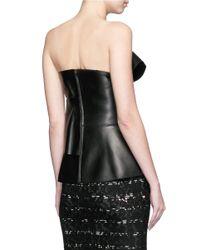 Alexander McQueen Black Obi Bow Strapless Leather Top