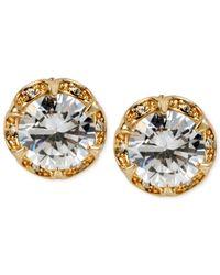 Betsey Johnson   Metallic Gold-tone Crystal Ruffled Stud Earrings   Lyst