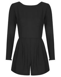 TOPSHOP Black Long Sleeve Playsuit By Love