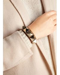Valentino - Metallic Rockstud Tan Leather Wrap Bracelet - Lyst