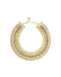 BCBGMAXAZRIA Metallic Woven-chain Spike Necklace