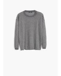 Mango - Gray Striped Sweater - Lyst