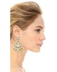 Oscar de la Renta White Cabochon Chandelier Earrings - Ivory/Silver