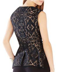 BCBGMAXAZRIA | Black Rena Lace Peplum Top | Lyst