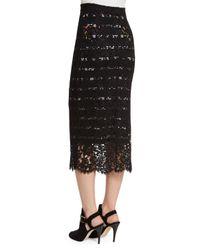 Preen By Thornton Bregazzi - Black Striped Lace Midi Pencil Skirt - Lyst