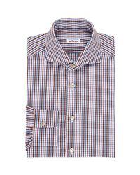 Kiton Brown Men's Checked M-body Dress Shirt for men
