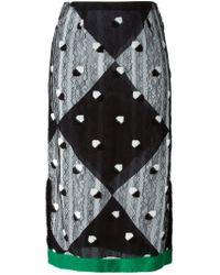 Marco De Vincenzo - Black Lace Overlay Midi Skirt - Lyst