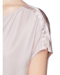 Vince Purple Button Shoulder Silk Charmeuse Blouse