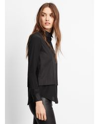 Vince - Black Classic Poplin Button Up With Silk Contrast - Lyst