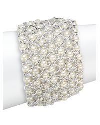 Kenneth Jay Lane - White Woven Simulated Pearl Bracelet/silvertone - Lyst