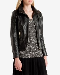 Ted Baker - Black Shearling Trim Leather Jacket - Lyst