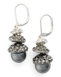 Anne Klein | Metallic Faux Pearl Drop Earrings | Lyst