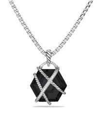 David Yurman - Metallic Cable Wrap Pendant With Black Onyx And Diamonds - Lyst
