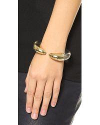 Kenneth Jay Lane - Metallic Tusk Cuff Bracelet - Gold/clear - Lyst
