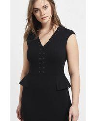 Violeta by Mango Black Studded Lace Up Dress