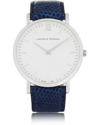 Larsson & Jennings - Blue Cm Lizard And Stainless Steel Watch - Lyst