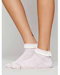 Free People Purple Womens Short Heathered Highland Boot Sock