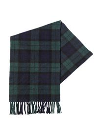 Polo Ralph Lauren Green Plaid Cashmere Scarf With Fringe