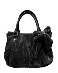 Betsey Johnson | Black Crystal Palace Faux Leather Velvet Satchel | Lyst