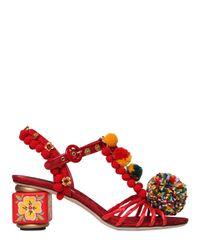 Dolce & Gabbana - Red 60mm Pompom Raffia & Cotton Sandals - Lyst