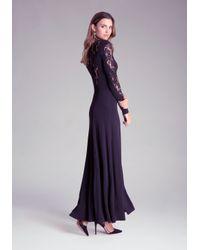 Bebe Black Plunging V-neck Lace Gown