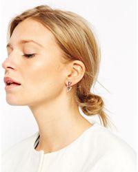 ASOS - Metallic Rose Gold Plated Sterling Silver Open Triangle Swing Earrings - Lyst