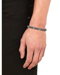 Zadeh - Gray Silver Cross  Macramé Cord Bracelet for Men - Lyst