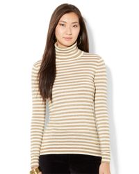 Lauren by Ralph Lauren | Natural Petite Metallic Striped Turtleneck Sweater | Lyst